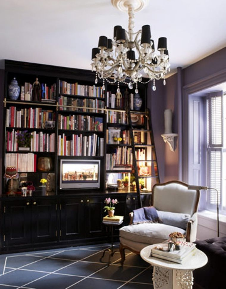 Fabolous Home Library Design Pictures Crystal Chandelier Soft Sofa