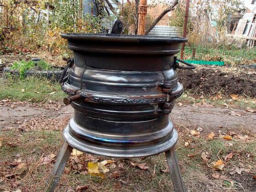 Печка из колесных дисков своими руками фото 34