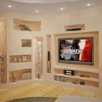 Акцент в хола: Ниша за телевизор от гипсокартон