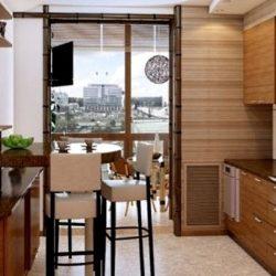 Кухня с балкон обзавеждане
