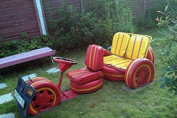 Направи си сам от стари гуми мебели и декорация за градината