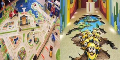 Под на детската стая с 3D ефект: Крачетата стъпват, а си мислят, че летят