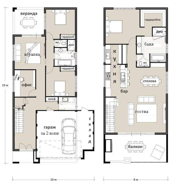 Проект за втори етаж кухня с хол