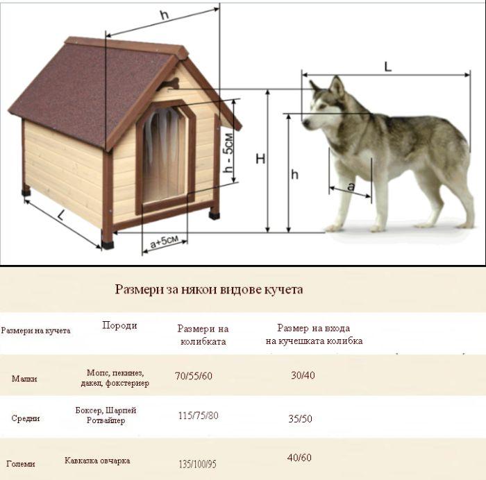 Препоръчителни размери на кучешка колибка и кучешка къщичка