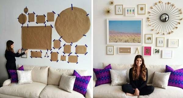 Как да подредим снимки с различна големина и различни рамки на стената?