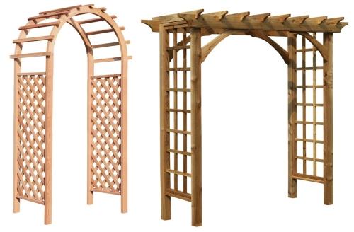 Дървени арки за рози в градината