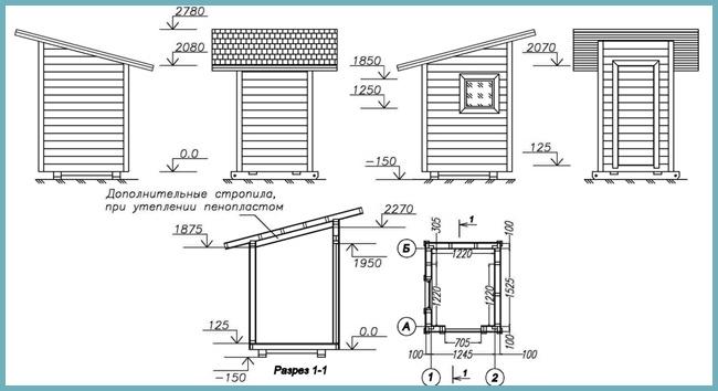 Чертеж на план за външна тоалетна