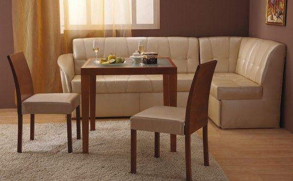 Кожен разтегателен диван за кухня