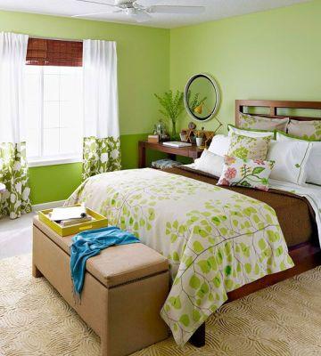 Зелена спалня или спалня в зелено идеи